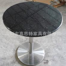 黑金砂餐桌 中高档餐厅桌椅 天然大理石圆桌 人造石餐桌 石英石桌
