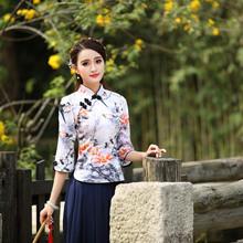 夏季新款中长袖民族风中式日常改良复古旗袍上衣唐装茶艺服5038