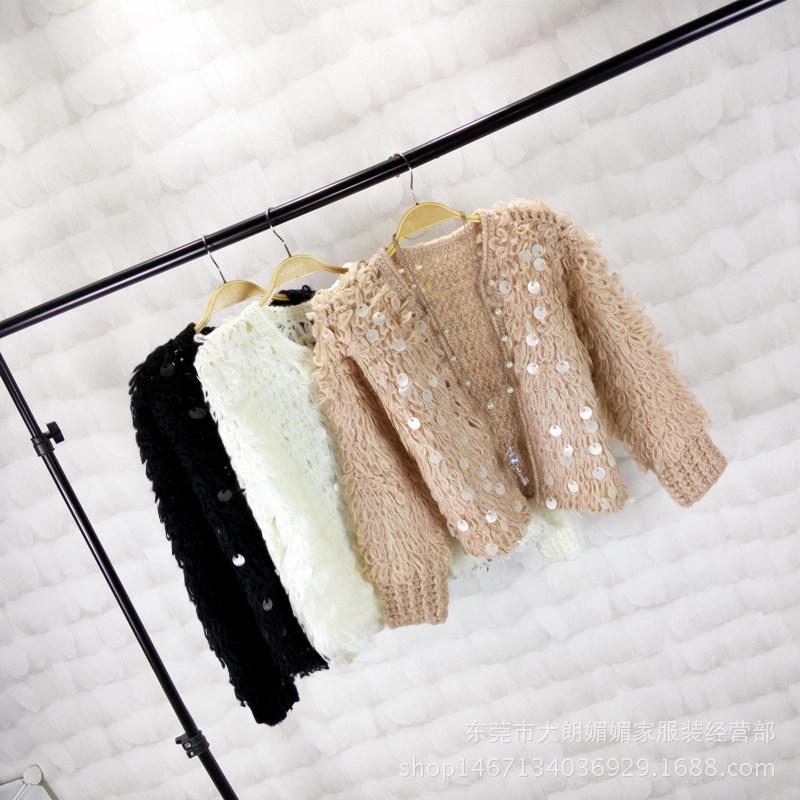 韩版马海毛线圈圈针织开衫秋冬新款时尚气质女装短款毛衣外套批发