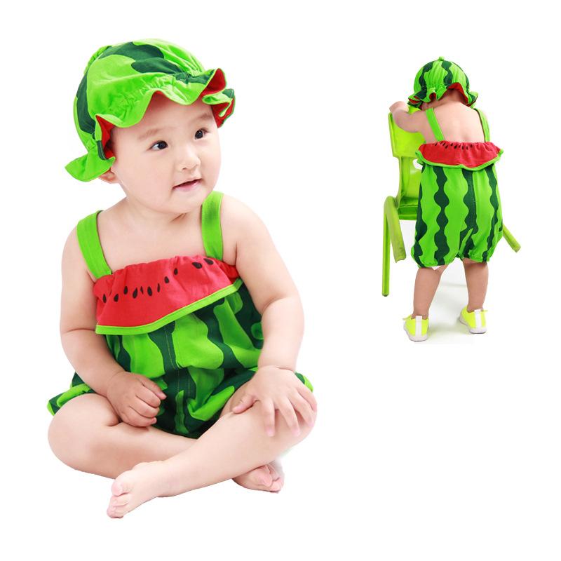 童装夏装小孩夏季衣服男女童1-2-3岁宝宝可爱吊带裤西瓜造型衣