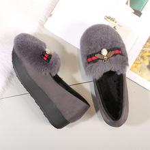 2018秋冬小蜜蜂兔毛鞋女加绒厚底松糕毛毛鞋女豆豆鞋中跟保暖棉鞋