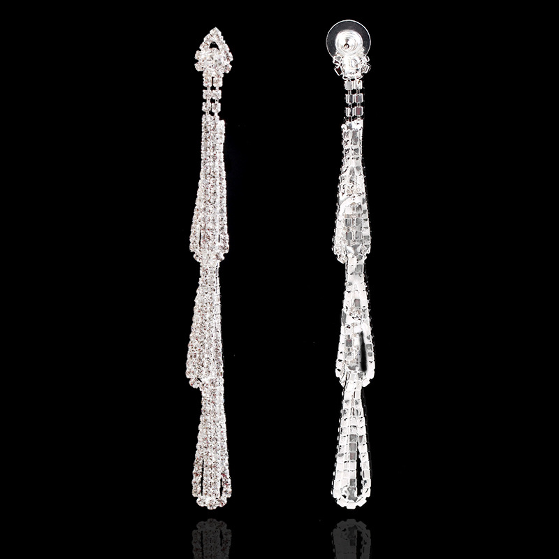New fashion exaggerated earrings S925 simple temperament long fringe earrings NHKQ199049