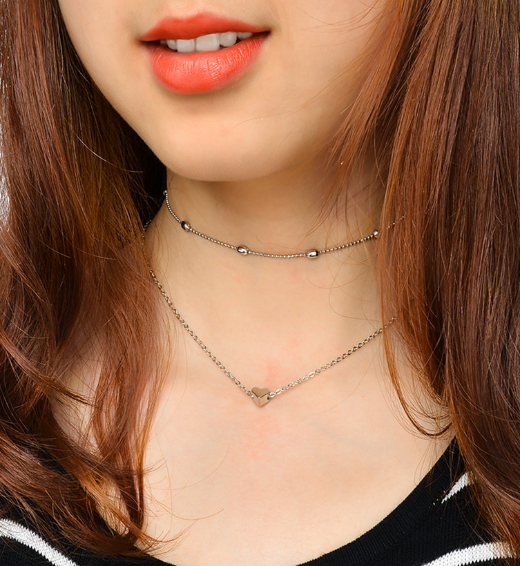 Occident and the United States alloy plating necklace (X0095 silver)NHXR1286-X0095 silver
