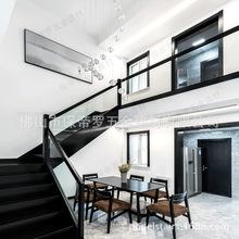 钢木定制黑色烤漆无框玻璃护栏扶手栏杆整体安装公寓复式别墅楼梯
