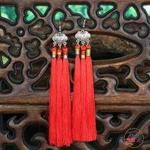 民族飾品新娘結婚配飾女多色喜慶長流蘇苗銀藏銀鎖耳環批發