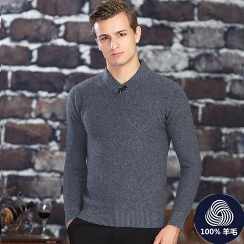2018冬季新款纯羊毛衫男V领加厚羊毛衫套头男式毛衣针织貂绒衫