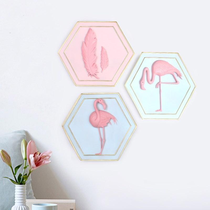 美式家居 卧室客厅摆件挂饰装饰品挂画 树脂工艺火烈鸟壁挂礼品