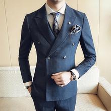 厂家直销 新郎伴郎西装三件套 英伦条纹修身男士双排扣西服套装