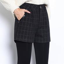 短裤女秋冬款外穿韩版a字阔腿高腰修身宽松加厚毛呢格子靴裤批发