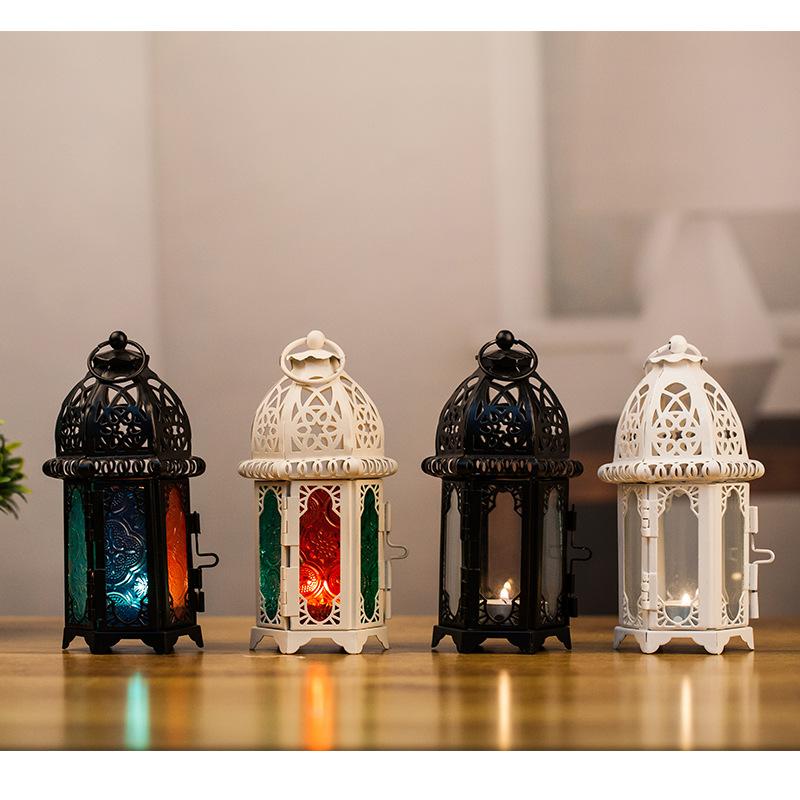 跨境欧式摩洛哥玻璃烛台金属风灯创意香薰蜡烛杯铁艺装饰品摆件