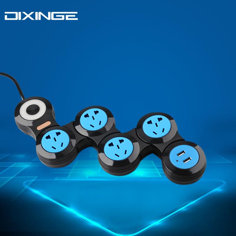 创意变形电源排插座新国标多功能5孔自由折叠旋转式usb充电接线板