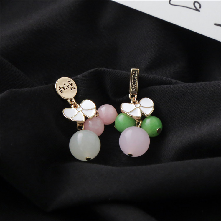 Star with the money crystal plating earring (A pair)NHIM0688-A pair