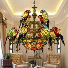 欧式创意复古蒂凡尼彩色玻璃鹦鹉吊灯酒吧餐厅客厅小鸟灯琉璃灯饰
