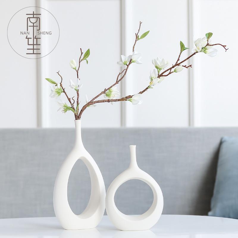 创意时尚白色陶瓷花瓶现代简约餐桌客厅摆件家居家饰干花花器插花