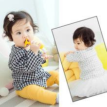 童装一件代发 2018婴童新品经典单排扣圆领格子纯棉长袖衬衫A608