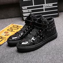 欧?#32769;?#23395;新款高帮鞋夜店亮片铆钉板鞋时尚发型师鞋男士魔术贴潮鞋