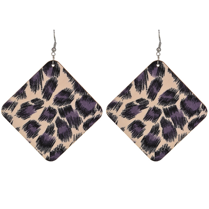 woodearring (Black and purple)NHYT0525-Black and purple
