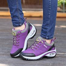 秋冬季新款登山鞋防水户外运动鞋防滑耐磨增高厚底低帮女鞋批发