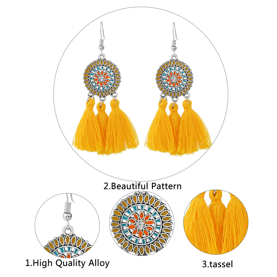 Occident and the United States alloy plating earring (brown)NHNMD3819-brown