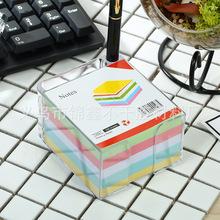 热卖新款带笔筒76*76彩色便签纸 便条纸便签盒 塑料透明盒装纸砖