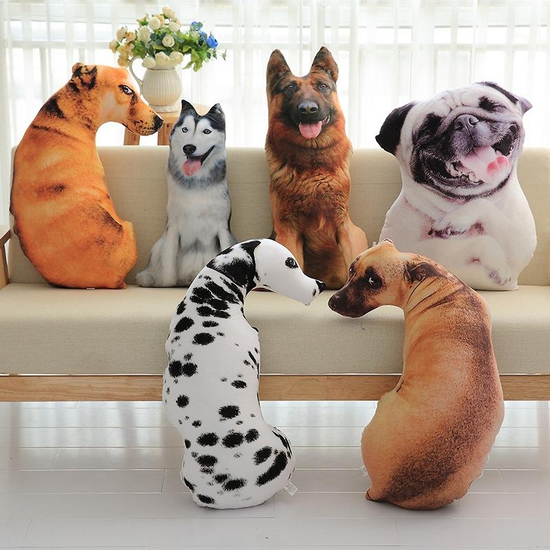 3D仿真狗狗抱枕沙皮斑点狗毛绒靠垫办公室午睡可拆洗金毛动物枕头