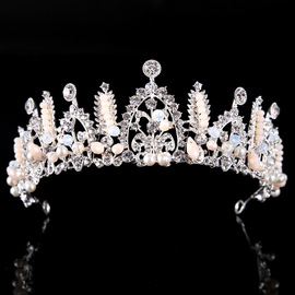 New headband crown alloy inlaid pearl hair accessories Crown fashion studio headwear women's jewelry