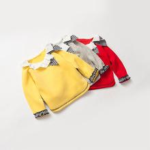 詩米克2017秋冬款加厚長袖T恤品牌童裝荷葉邊領不倒絨女童打底衫
