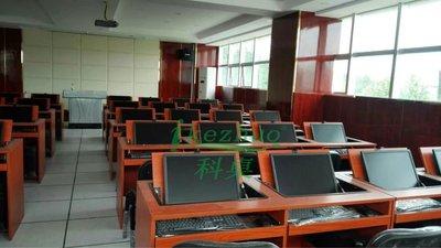 佛山厂家 学校电教室 电脑翻盖桌 多媒体 翻转电脑桌 隐藏桌 双人