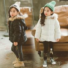 2017秋冬新款韩版时尚儿童外贸童装毛领羽绒棉服纯色女童棉衣外套