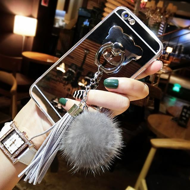 NOTE9 Korean Bear Stand for iPhoneXR Fox Hair Ball Fringe Mirror Phone Case Apple 8plus
