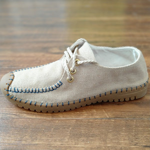Linen fashion shoes men's national lace up shoes non slip and wear resistant rib sole sewing shoes