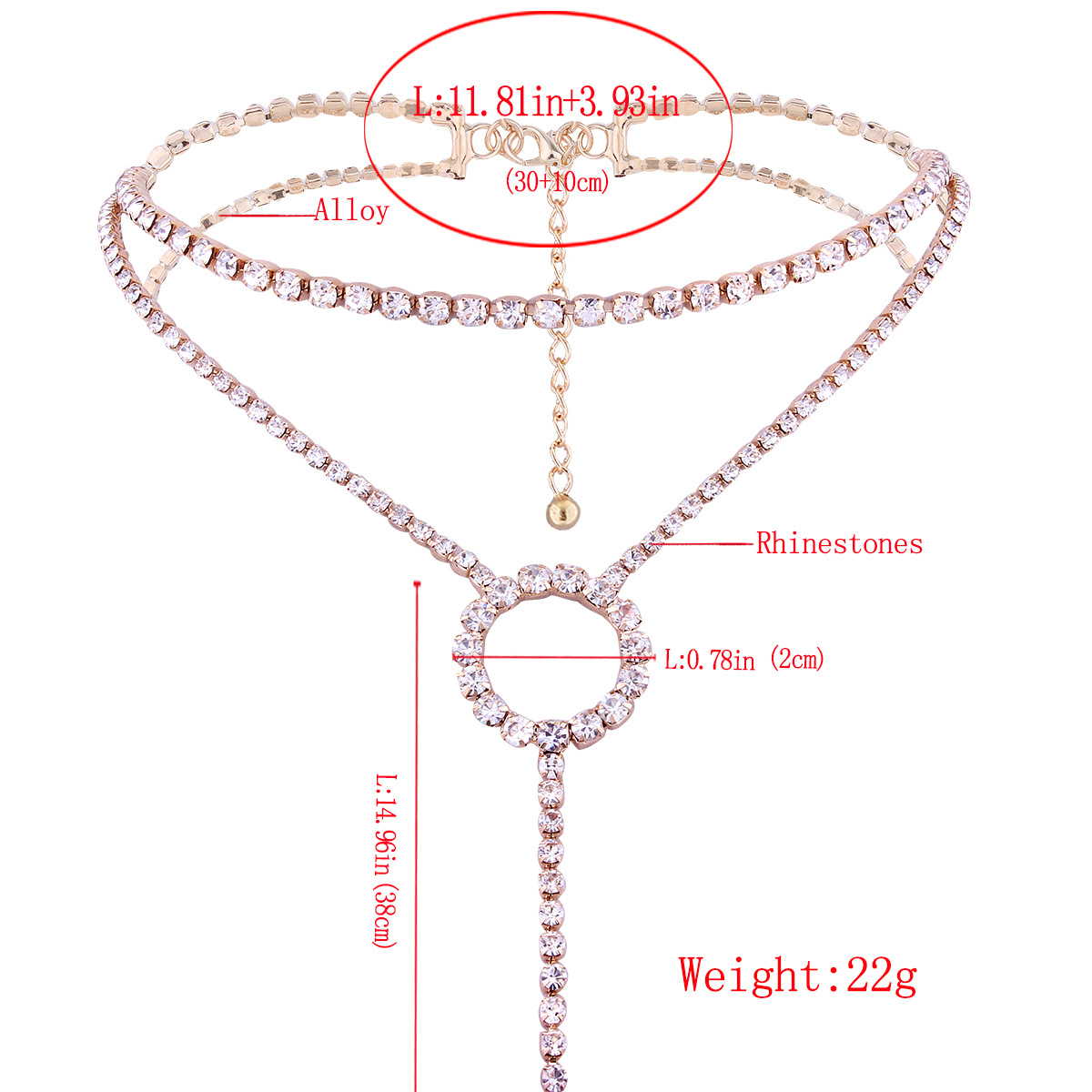 Simple Alloy Diamond necklace Geometric (Gold)NHNMD4052-Gold