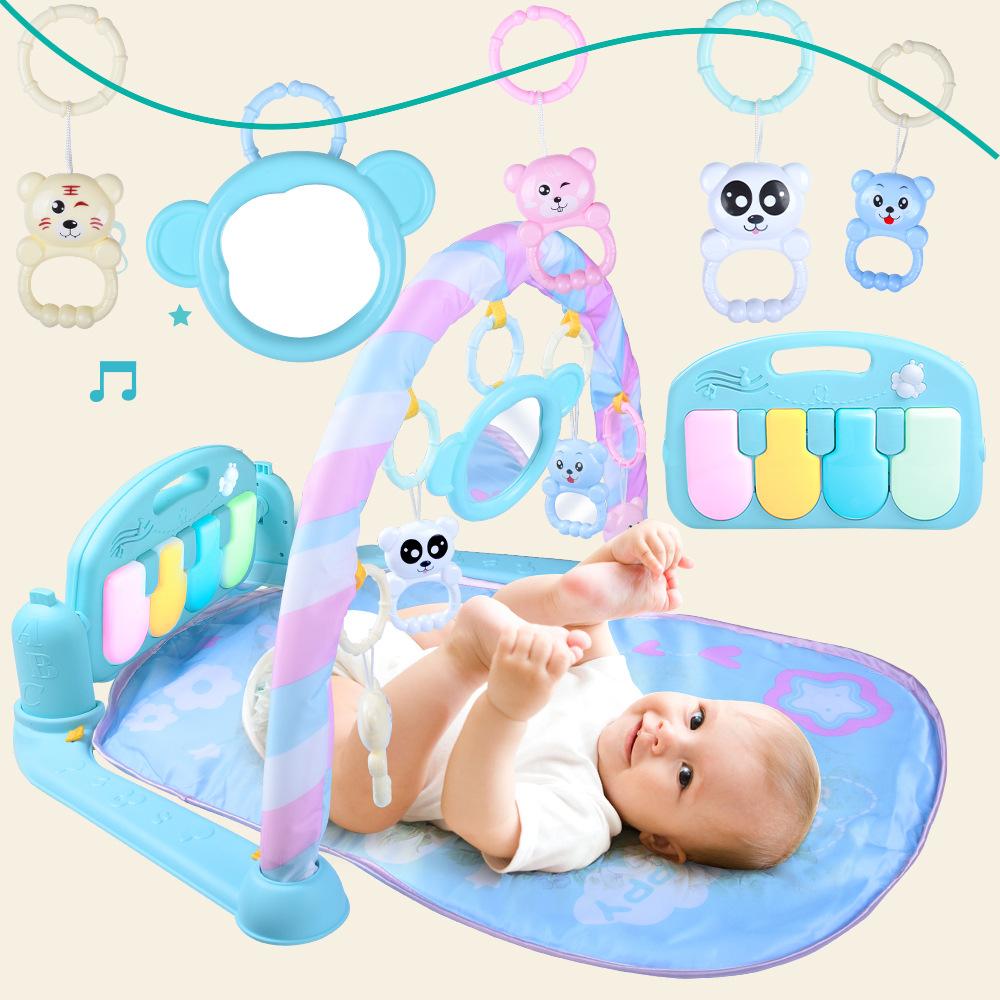 婴儿暖色脚踏琴宝宝健身架新生儿宝宝音乐游戏毯玩具0-1岁
