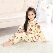 儿童法兰绒睡衣套装男孩女童宝宝卡通家居服休闲保暖秋冬款开衫