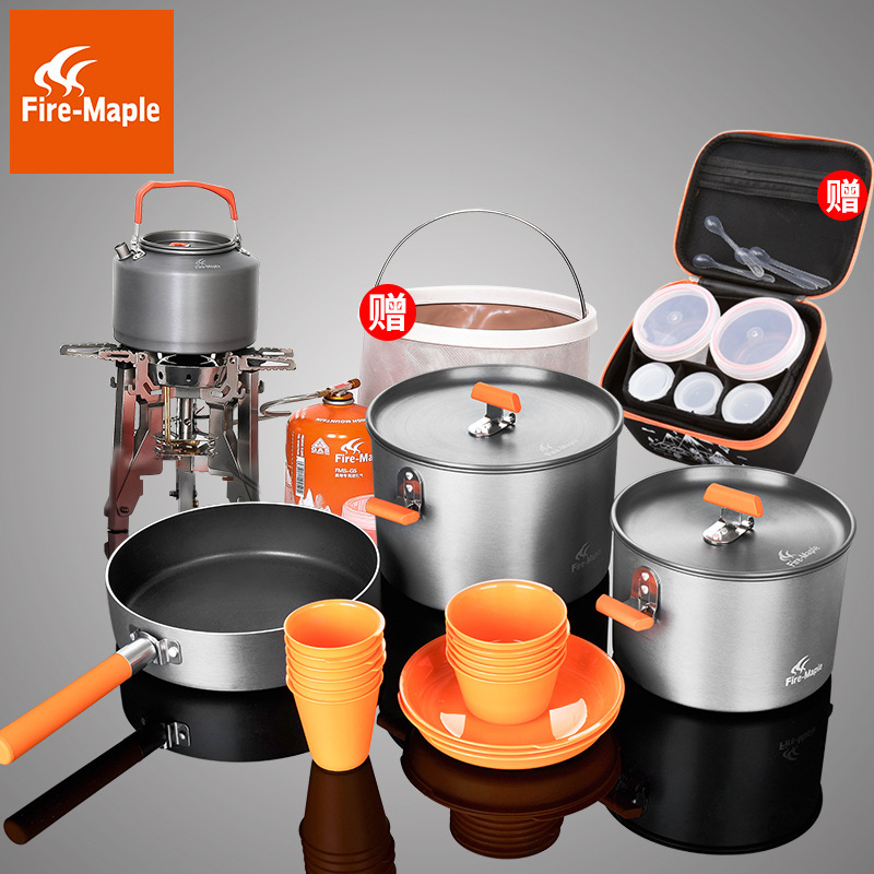 Fire Maple outdoor feast set family team 6-10 people picnic camping feast 6 sets of pots Titan stove stove
