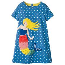 2018歐美夏季新款女童連衣裙中大童短袖爆款印花亞馬遜wish童裝