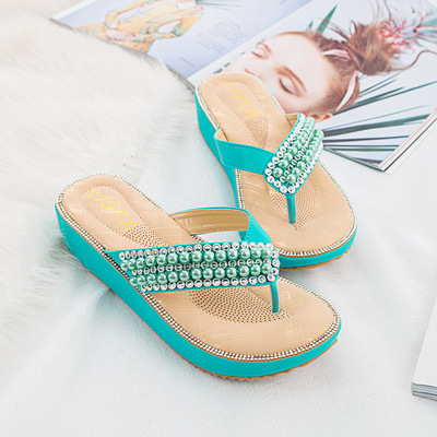Diamond bead Wai slippers clip toe sandals women large size women sandals