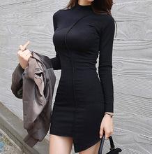 韩国女装秋冬打底裙性感紧身包臀短裙长袖修身半高领?#36824;?#21017;连衣裙