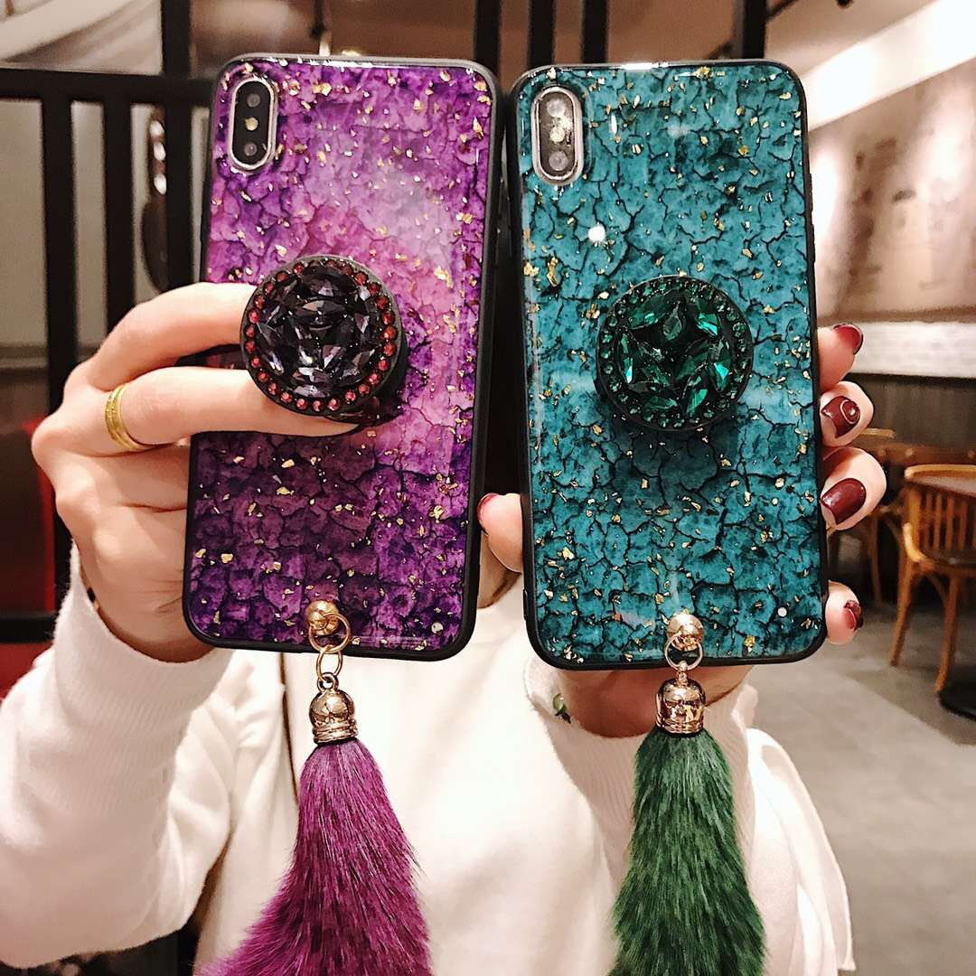 Luxury gold foil crack drop tape tassel rhinestone airbag bracket for iPhoneX Apple 8plus mobile phone case