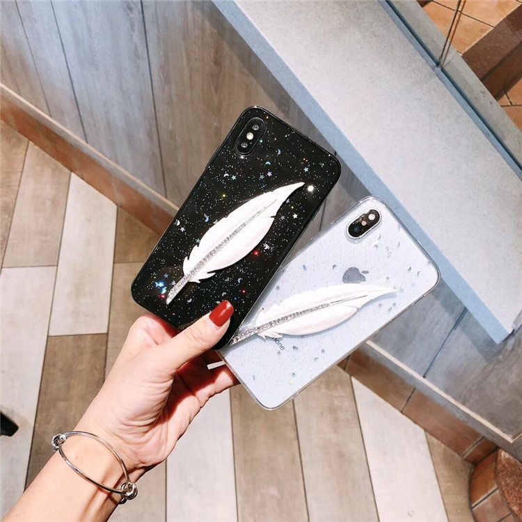 Feather luxury iphonex 7plus 8plus glitter for feather xsm all-inclusive shell fashion XR 6s