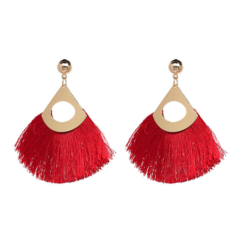 Alloy Fashion Tassel earring  (red) NHJJ5049-red