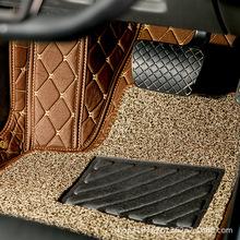 现货直销咖色米色线汽车脚垫 双层整车汽车丝圈脚垫