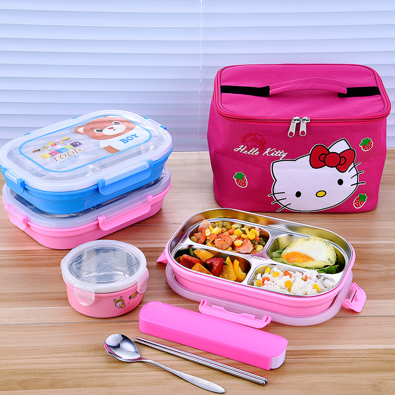 304 Stainless Steel Insulated Lunch Box Children's Lunch Box Compartment Plate Primary And Secondary School Students Cartoon Box Anti-scald Lunch Cute