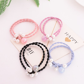 Fashion simple hair accessories A variety of pearl candy color hair ring wild tie rope hair accessories rubber band apron