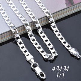 Trendy Jewelry European and American Fashion Silver Plated 925 Silver 4MM One Side Necklace