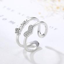韩版甜美铜镀银心形开口戒指女气质双层LOVE字母清新简约爱心指环