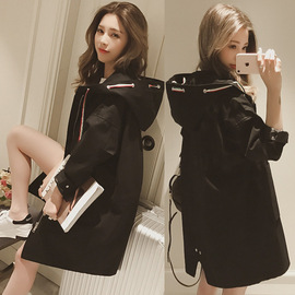 Autumn new fat MM black windbreaker female middle and long style loose student BF 100 with hat long sleeve coat