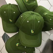 绿色牛油果帽子女ins韩国百搭棒球帽个性软顶鸭舌帽休闲遮阳帽男