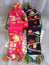 外贸原单儿童豪华刺绣汽车熊兔子帽子围巾套装 手工刺绣帽子围巾
