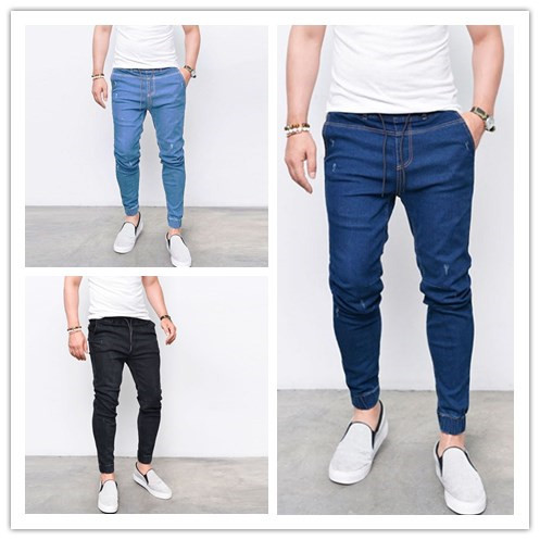 KiliFun Collection 1083 Men's Tight-fitting Stretch Denim Pants/Jeans Slim Fit Trousers light blue s 13